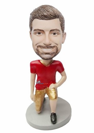 On One Knee Football Man bobblehead Doll