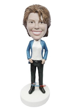 Custom Bobble Head | Blue Blazer Casual Female Bobblehead | Gift Ideas For Women