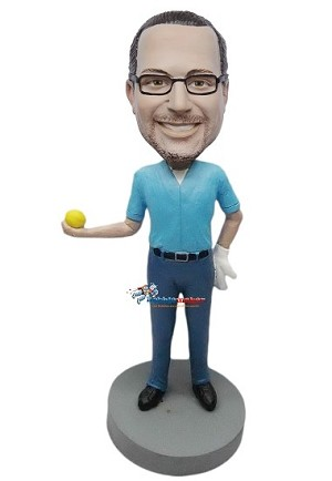 Custom Bobble Head | Man Holding Out Yellow Ball Bobblehead | Gift For Men