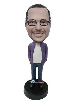 Custom Bobble Head | Open Purple Shirt Male Bobblehead | Gift For Men