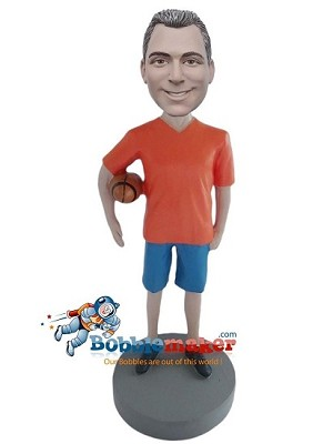 Casual Man With Football bobblehead Doll