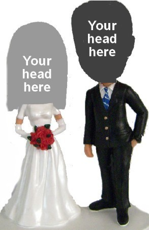 Wedding Bride and Groom Cake Topper bobblehead Doll