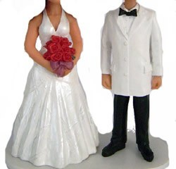 White Jacket Bow Tie Groom Wedding Couple bobblehead Doll