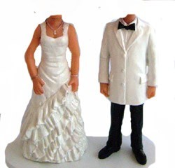Frilly Dress Bride With Handsome Groom bobblehead Doll