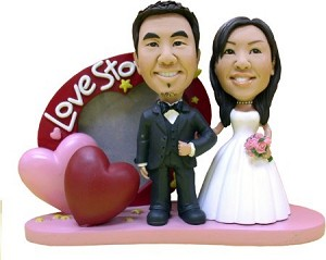 Elegant Love Story Couple bobblehead Doll