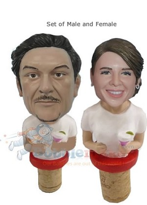 Custom Bobble Head | Custom Man And Woman Wine Cork Set | Gift Ideas