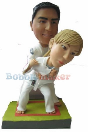 Martial Arts Couple bobblehead Doll