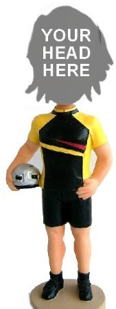 Male Bicycle Rider In Uniform bobblehead Doll