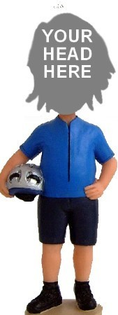 Casual Cyclist With Helmet bobblehead Doll