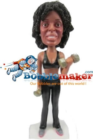 Weightlifter Female bobblehead Doll