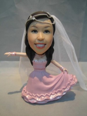 Dancing Woman With Bridal Dress bobblehead Doll
