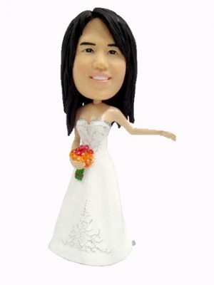 Custom Bobble Head | Bride With Bouquet Bobblehead | Gift Ideas For Wedding