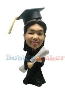 Graduation Male Holds Degree bobblehead Doll