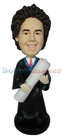Male Graduate With Huge Degree bobblehead Doll