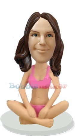 Custom Bobble Head | Seated Yoga Female Bobblehead | Gift Ideas For Men