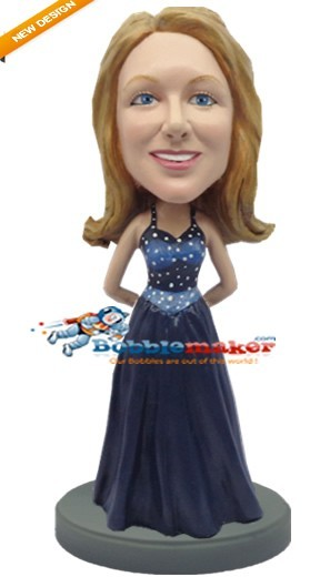 Fancy Dress Woman bobblehead Doll