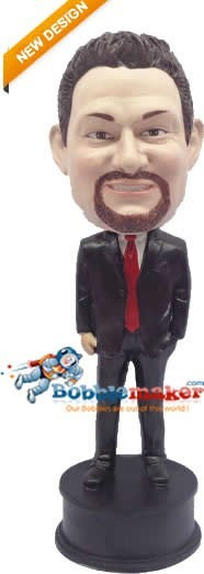 Custom Bobble Head | Black Suit Red Tie Businessman Bobblehead | Gift Ideas For Men