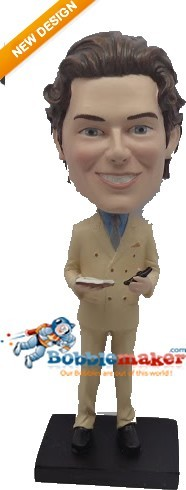 Man In Beige Suit bobblehead Doll