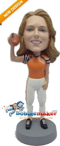 Female Football Player bobblehead Doll