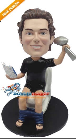 Man On Toilet With Super Bowl Trophy bobblehead Doll