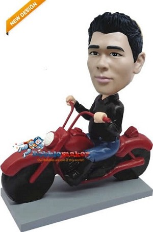 Man On Red Motorcycle bobblehead Doll