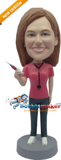 Nurse With Syringe bobblehead Doll