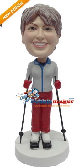 Woman Skiing bobblehead Doll