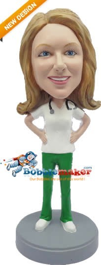 Doctor Female With Stethoscope bobblehead Doll