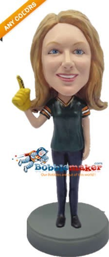 Female Football Fan bobblehead Doll