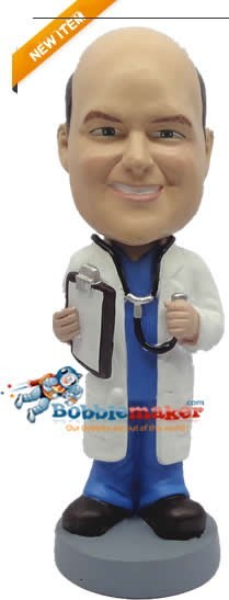 Doctor With Stethoscope bobblehead Doll