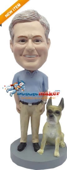 Casual Man With Dog bobblehead Doll