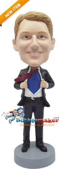 Ripping Shirt Open Businessman bobblehead Doll