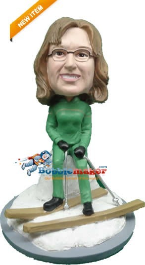 Custom Bobble Head | Skiing Female On Slopes Bobblehead | Gift Ideas For Women