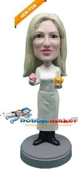 Female Baker bobblehead Doll