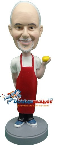 Chef With Lemon bobblehead Doll