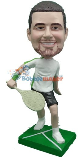 Male Tennis Player Back Hand bobblehead Doll