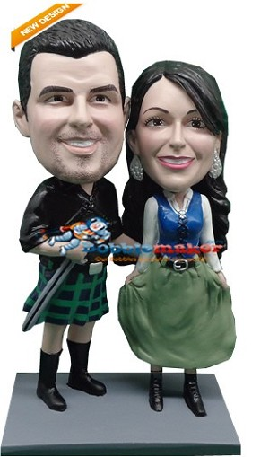 Custom Bobble Head | Scottish Couple Bobblehead | Gift Ideas For Couples