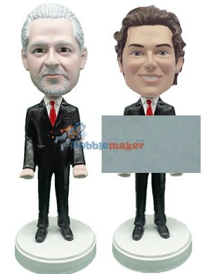 Male Business Man Business Card Holder bobblehead Doll