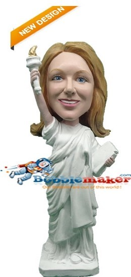 Female In Statue Of Liberty Costume bobblehead Doll