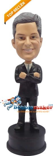 Arms Crossed Businessman bobblehead Doll
