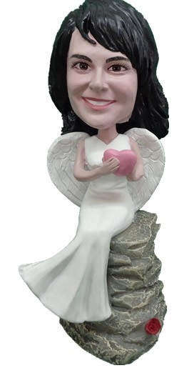 Custom Bobble Head | Angel Female Sitting On Rock Bobblehead | Gift For Women
