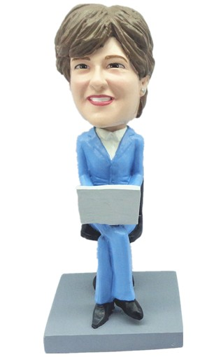 Office Female with Computer bobblehead Doll