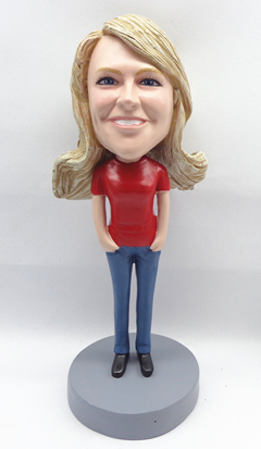 Red T-Shirt Casual Female bobblehead Doll