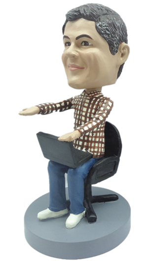 Office Man with Computer bobblehead Doll