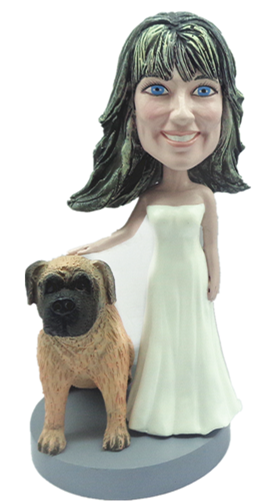 Female With Pet Dog bobblehead Doll 2