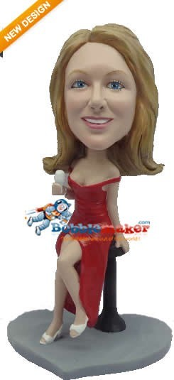 Leggy Red Dress Female bobblehead Doll