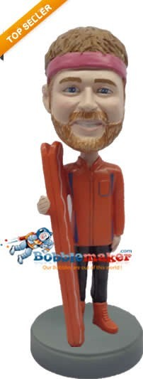 Male Skier With Headband bobblehead Doll