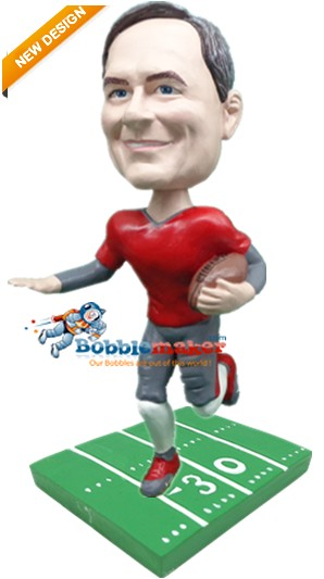 Football Male On Gridiron bobblehead Doll