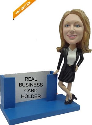 Professional Female Business Card Holder bobblehead Doll
