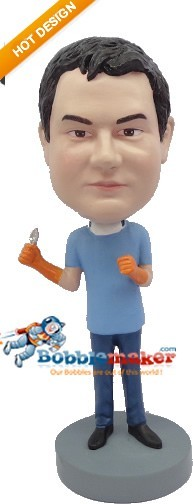 Male Dentist With Orange Gloves bobblehead Doll